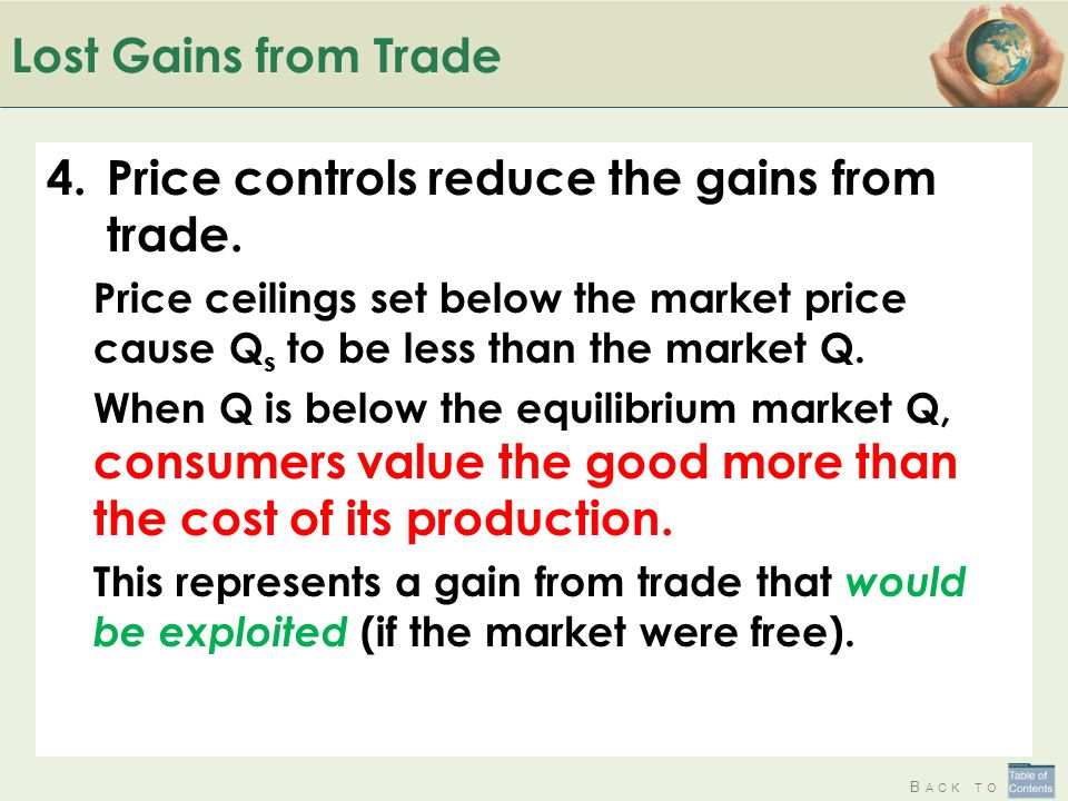 B ACK TO Lost Gains from Trade 4.Price controls reduce the gains from trade. Price ceilings set below the market price cause Q s to be less than the m