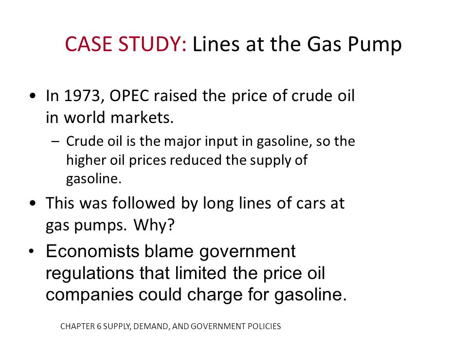 In 1973, OPEC raised the price of crude oil in world markets. –Crude oil is the major input in gasoline, so the higher oil prices reduced the supply o