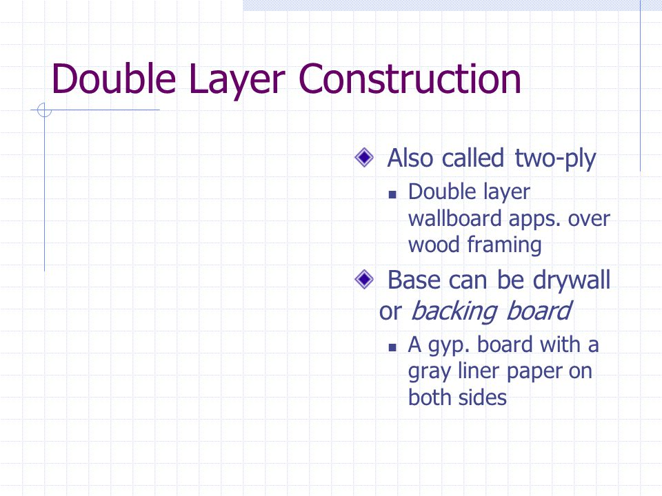 Double Layer Construction Also called two-ply Double layer wallboard apps. over wood framing Base can be drywall or backing board A gyp. board with a