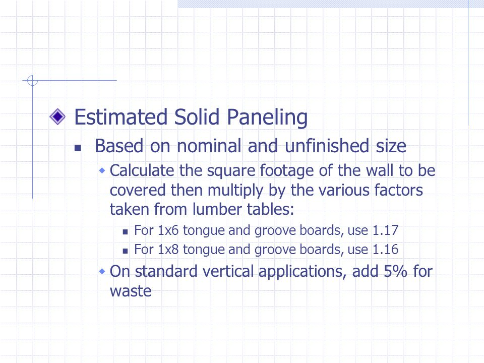 Estimated Solid Paneling Based on nominal and unfinished size Calculate the square footage of the wall to be covered then multiply by the various fact