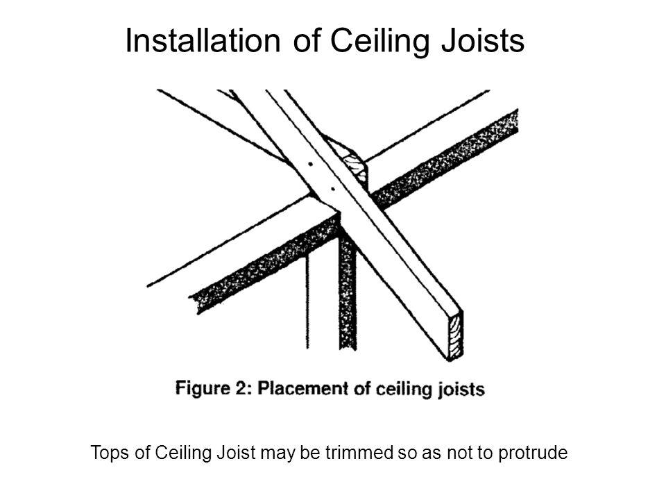 Installation of Ceiling Joists Tops of Ceiling Joist may be trimmed so as not to protrude