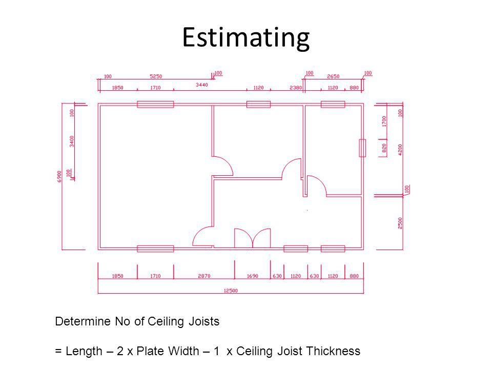 Estimating Determine No of Ceiling Joists = Length – 2 x Plate Width – 1 x Ceiling Joist Thickness