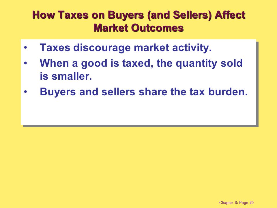Chapter 6: Page 20 Taxes discourage market activity.