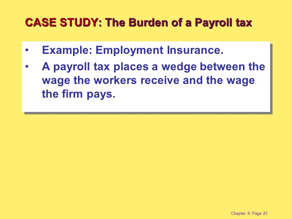 Chapter 6: Page 23 Example: Employment Insurance. A payroll tax places a wedge between the wage the workers receive and the wage the firm pays. Exampl