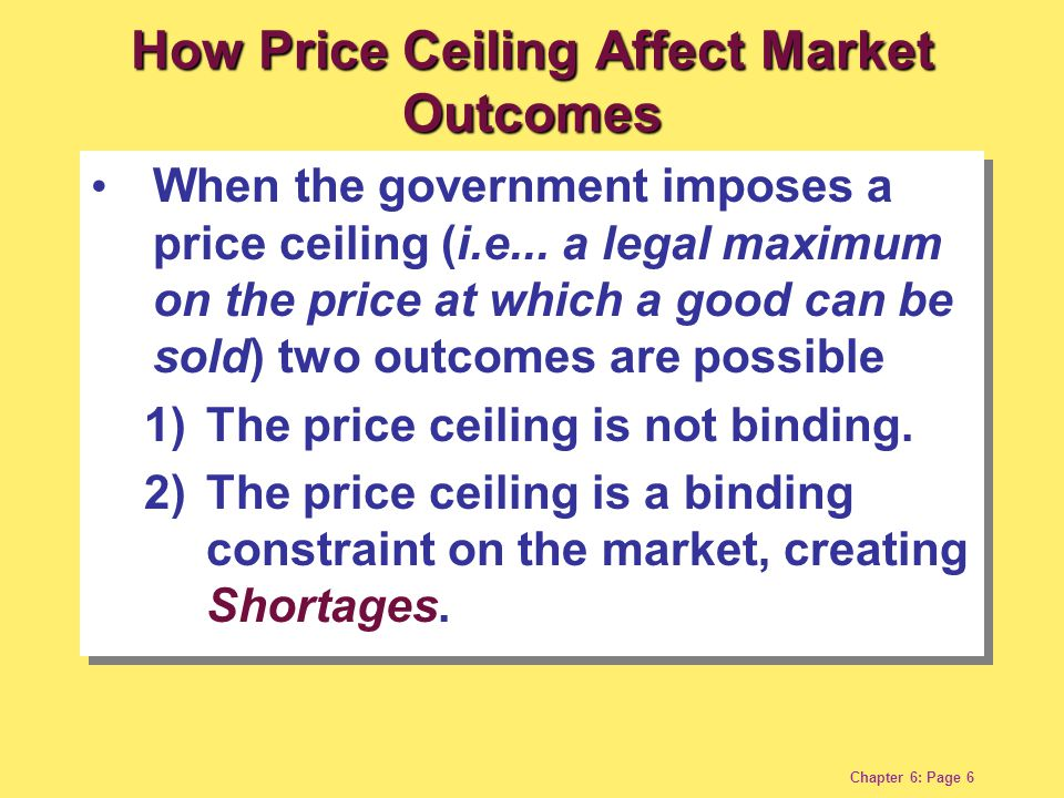 Chapter 6: Page 7 Quantity of Ice-Cream Cones Price of Ice-Cream Cone Demand Supply Equilibrium price $3 (a) A Price Ceiling That is Not Binding (b) A Price Ceiling That is Binding $4 Price ceiling Quantity of Ice-Cream Cones 100 Equilibrium quantity Price of Ice-Cream Cone Demand Supply $2 Price ceiling $3 75 Q S Equilibrium price 125 Q D Shortage 0 0 Figure 6-1: A Market with a Price Ceiling