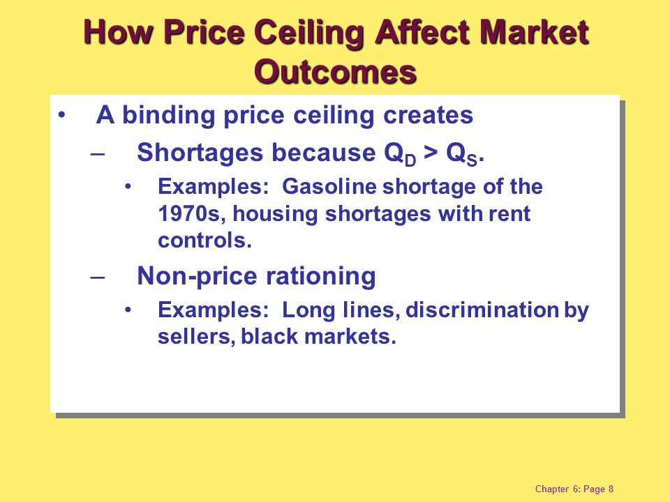 Chapter 6: Page 8 A binding price ceiling creates – Shortages because Q D > Q S. Examples: Gasoline shortage of the 1970s, housing shortages with rent