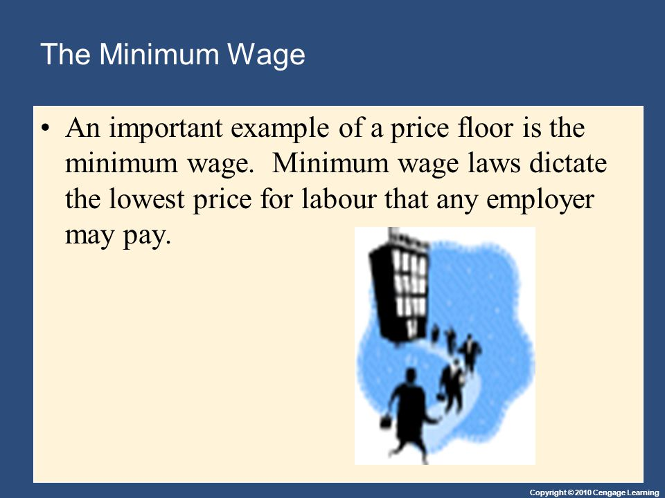 Copyright © 2010 Cengage Learning The Minimum Wage An important example of a price floor is the minimum wage. Minimum wage laws dictate the lowest pri