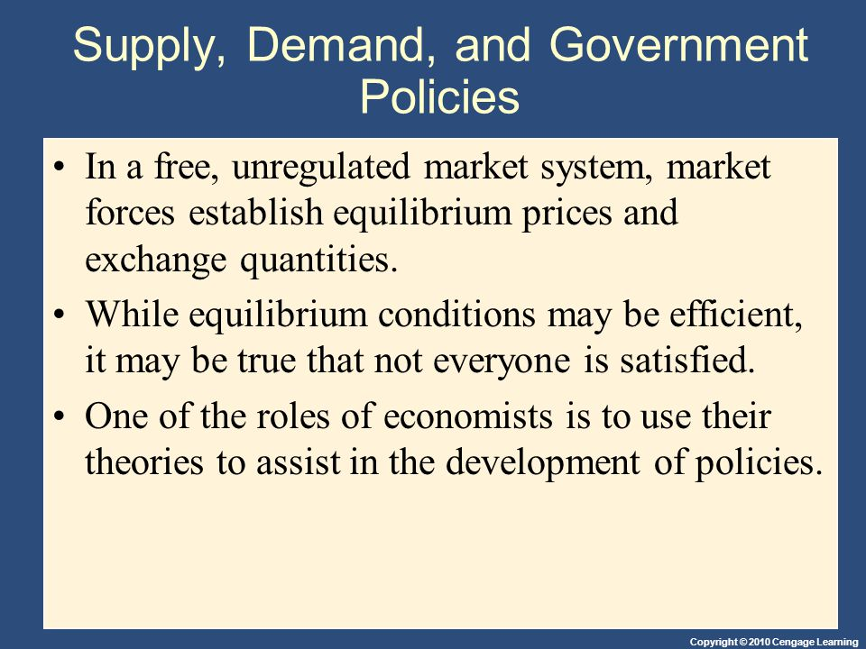 Copyright © 2010 Cengage Learning Supply, Demand, and Government Policies In a free, unregulated market system, market forces establish equilibrium pr