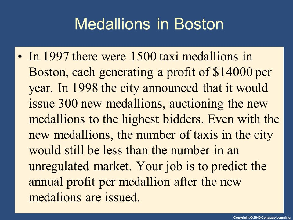 Copyright © 2010 Cengage Learning Medallions in Boston In 1997 there were 1500 taxi medallions in Boston, each generating a profit of $14000 per year.