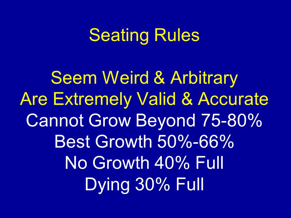 Seating Rules Seem Weird & Arbitrary Are Extremely Valid & Accurate Cannot Grow Beyond 75-80% Best Growth 50%-66% No Growth 40% Full Dying 30% Full