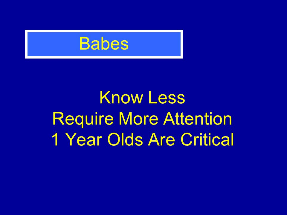 Know Less Require More Attention 1 Year Olds Are Critical Babes