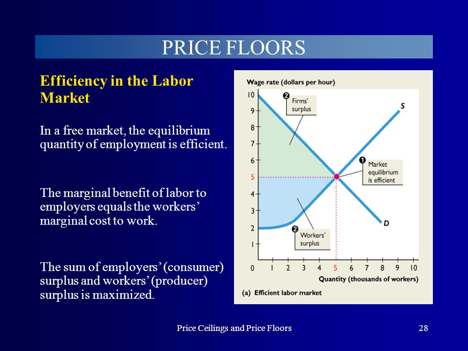 Price Ceilings and Price Floors28 PRICE FLOORS In a free market, the equilibrium quantity of employment is efficient. The sum of employers (consumer)