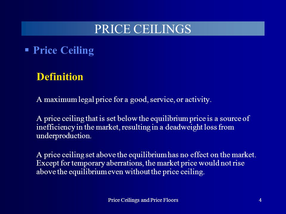 Price Ceilings and Price Floors15 PRICE CEILINGS Example: Rent Controls Decline in quality of rental housing The rent ceiling prevents rents from increasing to cover cost increases.