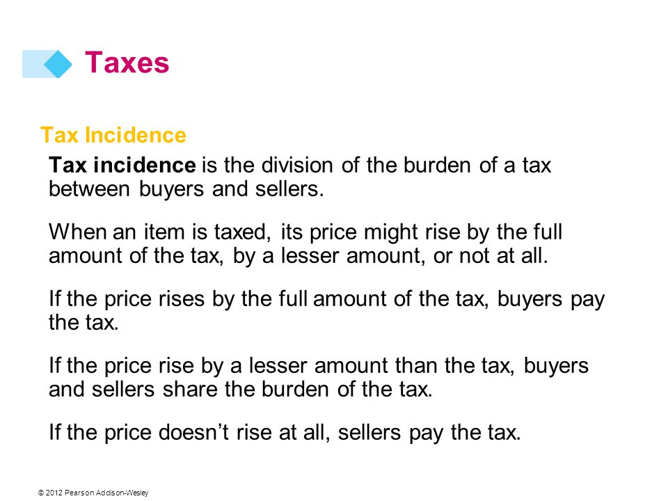 © 2012 Pearson Addison-Wesley Tax Incidence Tax incidence is the division of the burden of a tax between buyers and sellers. When an item is taxed, it