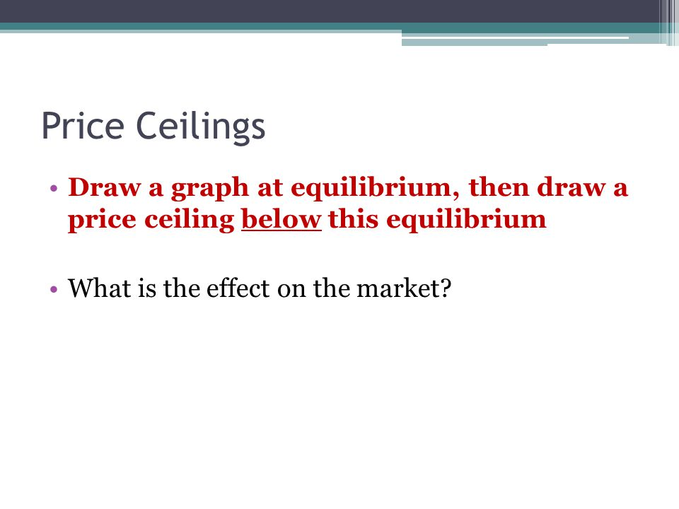 Price Ceilings Draw a graph at equilibrium, then draw a price ceiling below this equilibrium What is the effect on the market