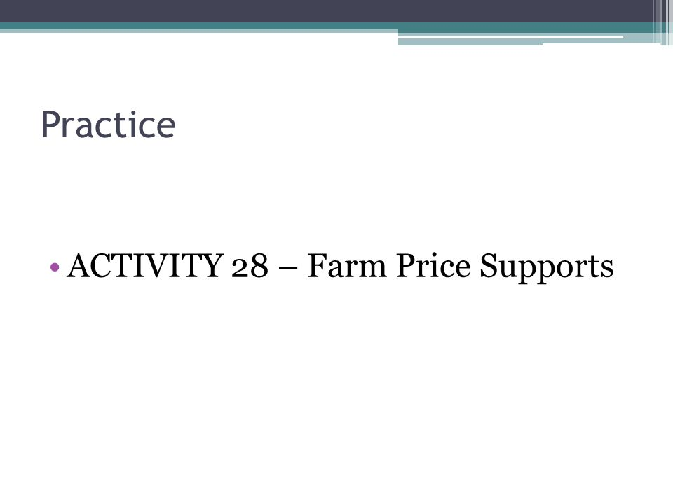 Practice ACTIVITY 28 – Farm Price Supports