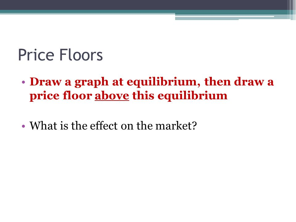 Price Floors Draw a graph at equilibrium, then draw a price floor above this equilibrium What is the effect on the market
