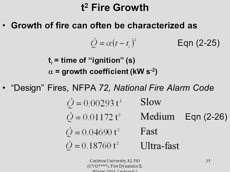 Carleton University, 82.583 (CVG****), Fire Dynamics II, Winter 2003, Lecture # 2 35 t 2 Fire Growth Growth of fire can often be characterized asGrowt