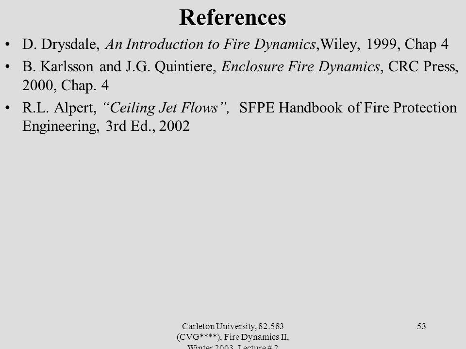 Carleton University, 82.583 (CVG****), Fire Dynamics II, Winter 2003, Lecture # 2 53References D.