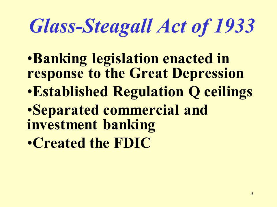 4 Regulation Q Interest rate ceilings on deposits at commercial banks established during the Great Depression and phased out after 1980