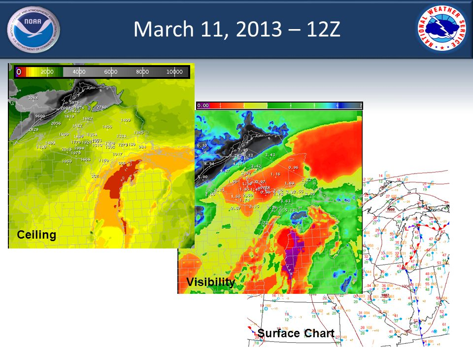 March 11, 2013 – 12Z Ceiling Visibility Surface Chart