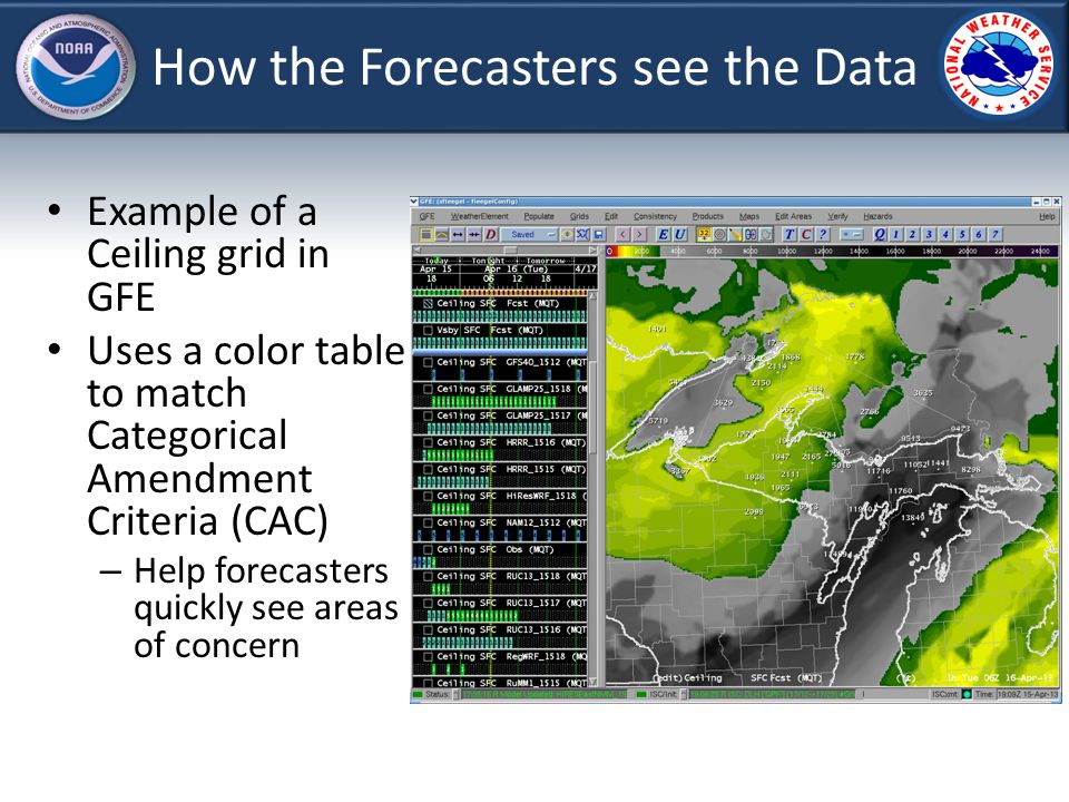 Future Work Main focus will be improving Ceiling forecasts for IFR and lower conditions Perform Summertime convection verification Incorporate some influence of the Forecast to visibility and ceiling Generate experimental TAFs like some NWS Eastern Region offices – Would help simplify verification, since it would be incorporated into Stats on Demand