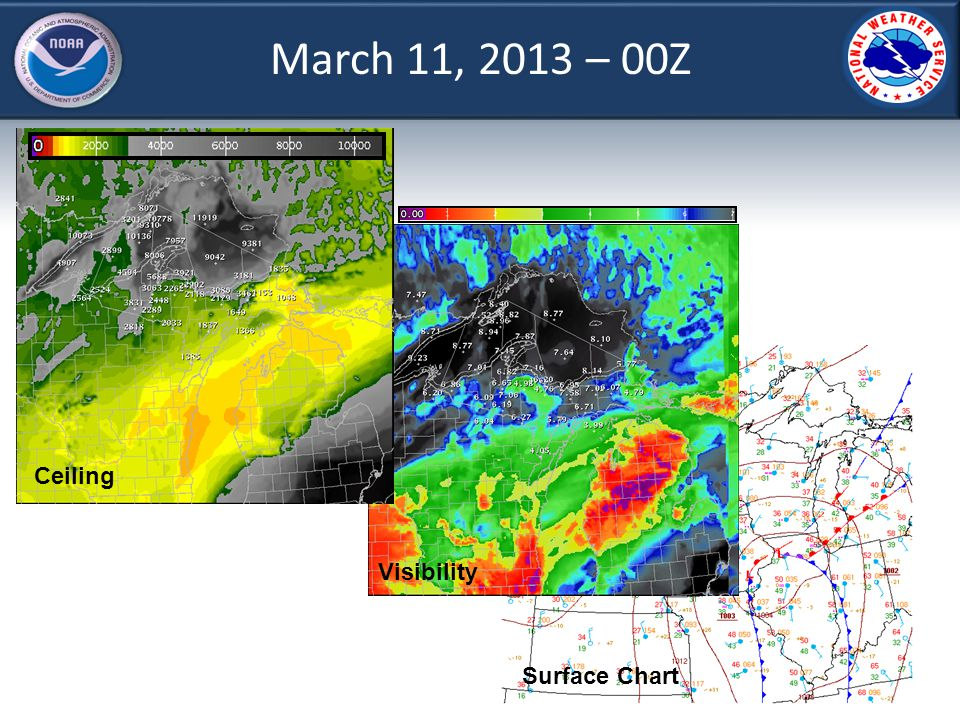March 11, 2013 – 00Z Ceiling Visibility Surface Chart