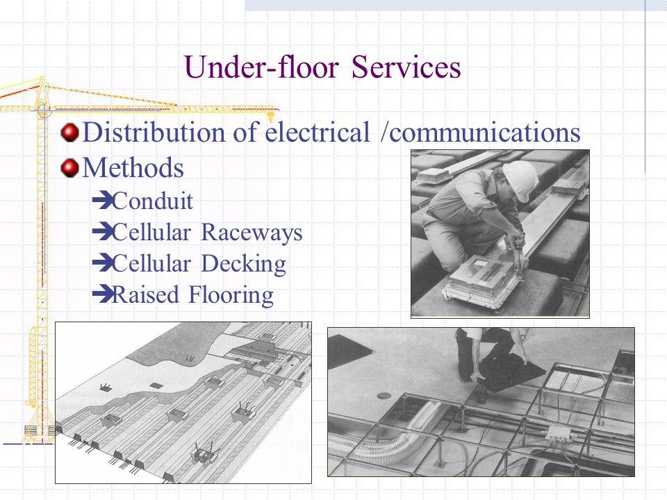 Under-floor Services Distribution of electrical /communications Methods Conduit Cellular Raceways Cellular Decking Raised Flooring