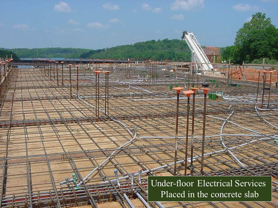 Under-floor Electrical Services Placed in the concrete slab
