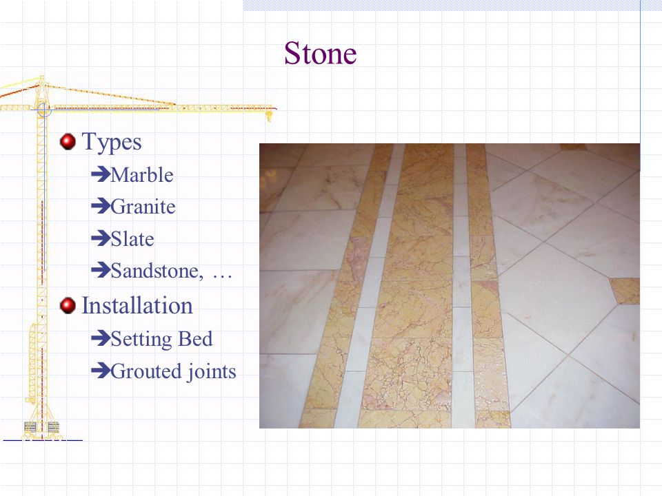 Stone Types Marble Granite Slate Sandstone, … Installation Setting Bed Grouted joints