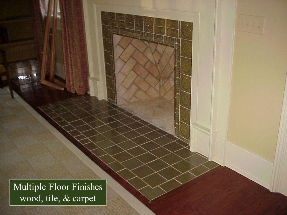 Multiple Floor Finishes wood, tile, & carpet