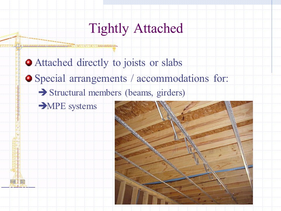 Tightly Attached Attached directly to joists or slabs Special arrangements / accommodations for: Structural members (beams, girders) MPE systems