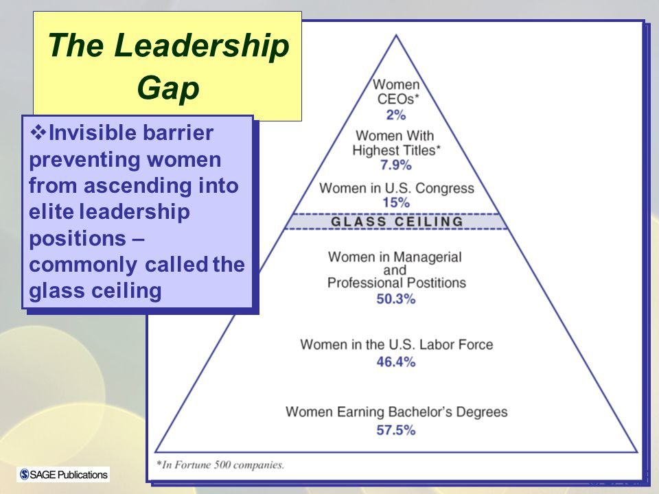 The Leadership Gap Invisible barrier preventing women from ascending into elite leadership positions – commonly called the glass ceiling Invisible bar