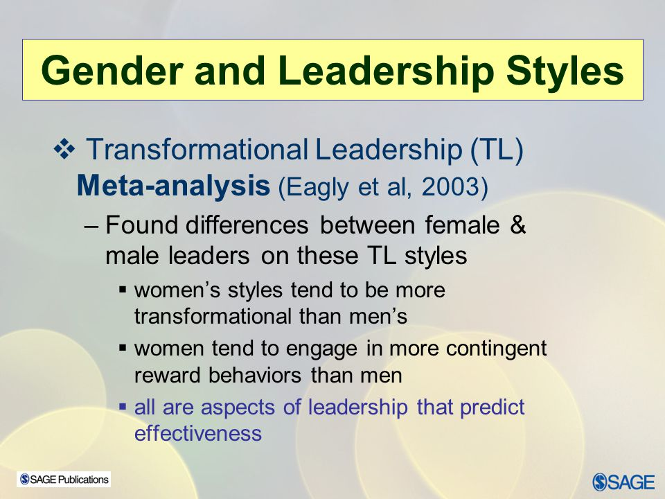 Transformational Leadership (TL) Meta-analysis (Eagly et al, 2003) –Found differences between female & male leaders on these TL styles womens styles t