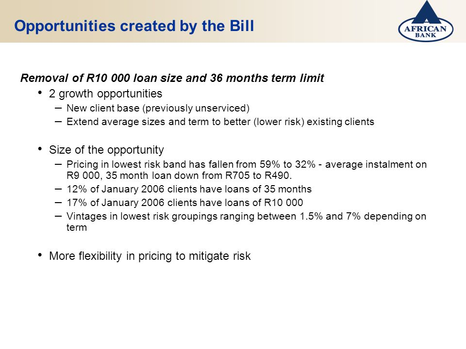 Opportunities created by the Bill Removal of R10 000 loan size and 36 months term limit 2 growth opportunities – New client base (previously unserviced) – Extend average sizes and term to better (lower risk) existing clients Size of the opportunity – Pricing in lowest risk band has fallen from 59% to 32% - average instalment on R9 000, 35 month loan down from R705 to R490.