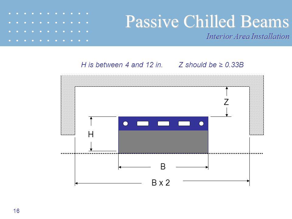 16 Passive Chilled Beams Interior Area Installation B B x 2 Z H is between 4 and 12 in. Z should be 0.33B H