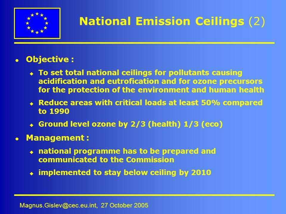 Magnus.Gislev@cec.eu.int, 27 October 2005 National Emission Ceilings (2) l Objective : u To set total national ceilings for pollutants causing acidifi