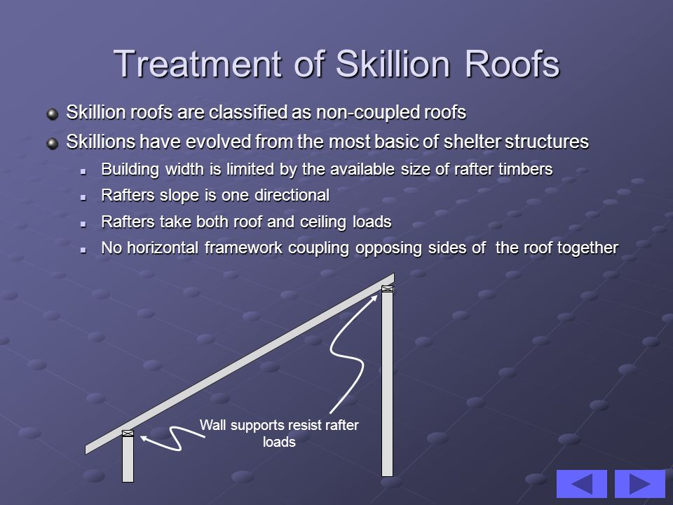Treatment of Cathedral Roofs Cathedral roofs have some similarities with Skillions: Rafters take both roof and ceiling loads Rafters take both roof and ceiling loads They are non-coupled roofs i.e.