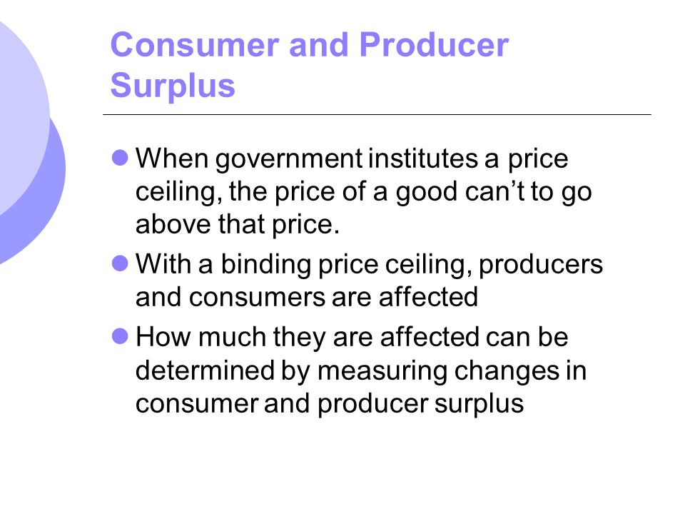 Consumer and Producer Surplus When government institutes a price ceiling, the price of a good cant to go above that price. With a binding price ceilin