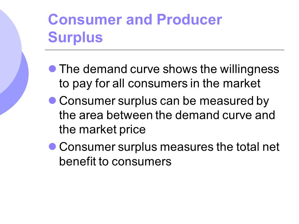 Consumer and Producer Surplus The demand curve shows the willingness to pay for all consumers in the market Consumer surplus can be measured by the ar