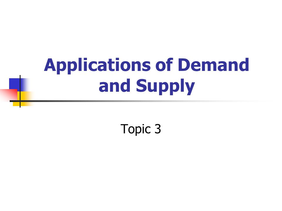 Applications of Demand and Supply Topic 3