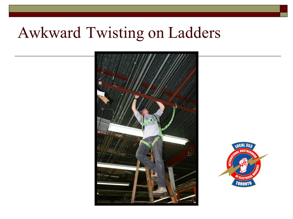 Awkward Twisting on Ladders