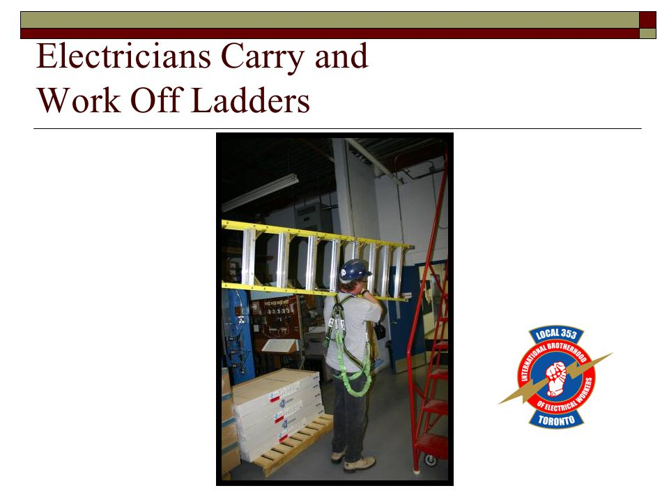 Electricians Carry and Work Off Ladders