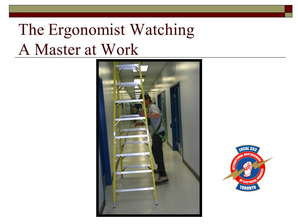 The Ergonomist Watching A Master at Work
