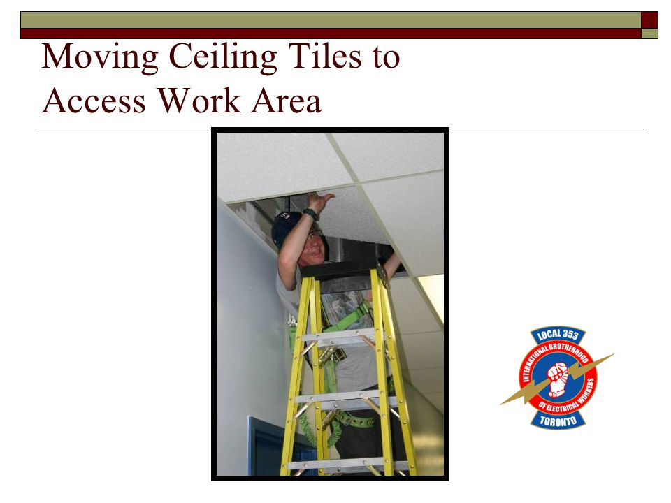 Moving Ceiling Tiles to Access Work Area