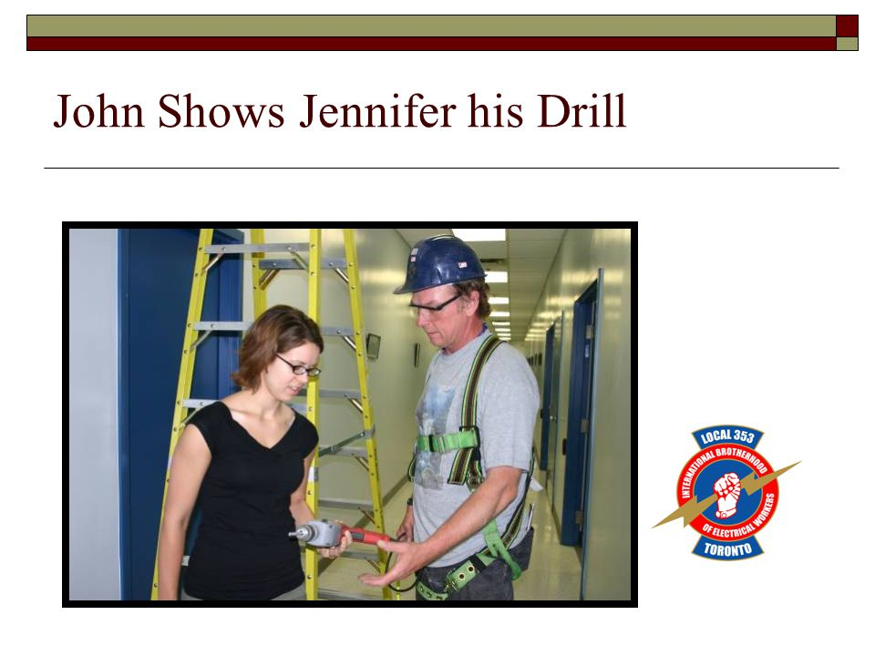 John Shows Jennifer his Drill