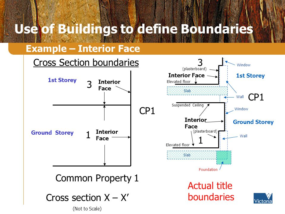 Use of Buildings to define Boundaries Example – Interior Face Cross section X – X (Not to Scale) 3 1 Common Property 1 CP1 Interior Face 1st Storey Ground Storey Cross Section boundaries Actual title boundaries CP1 Wall Window Interior Face Window Wall Suspended Ceiling 3 1st Storey Ground Storey 1 Elevated floor Slab (plasterboard) Slab (plasterboard) Foundation