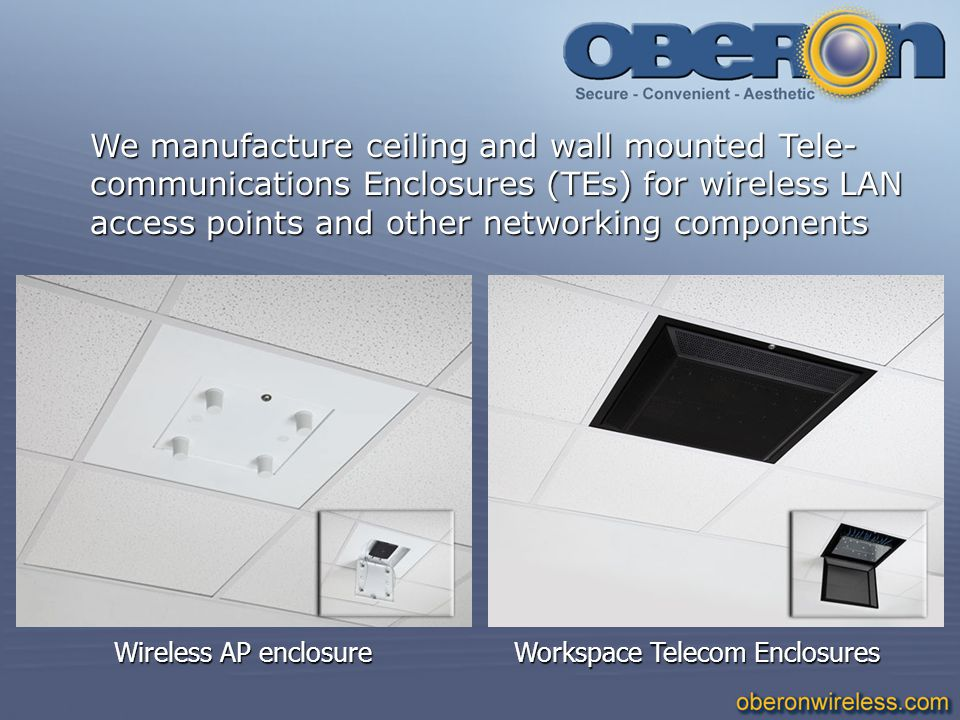 We manufacture ceiling and wall mounted Tele- communications Enclosures (TEs) for wireless LAN access points and other networking components Wireless