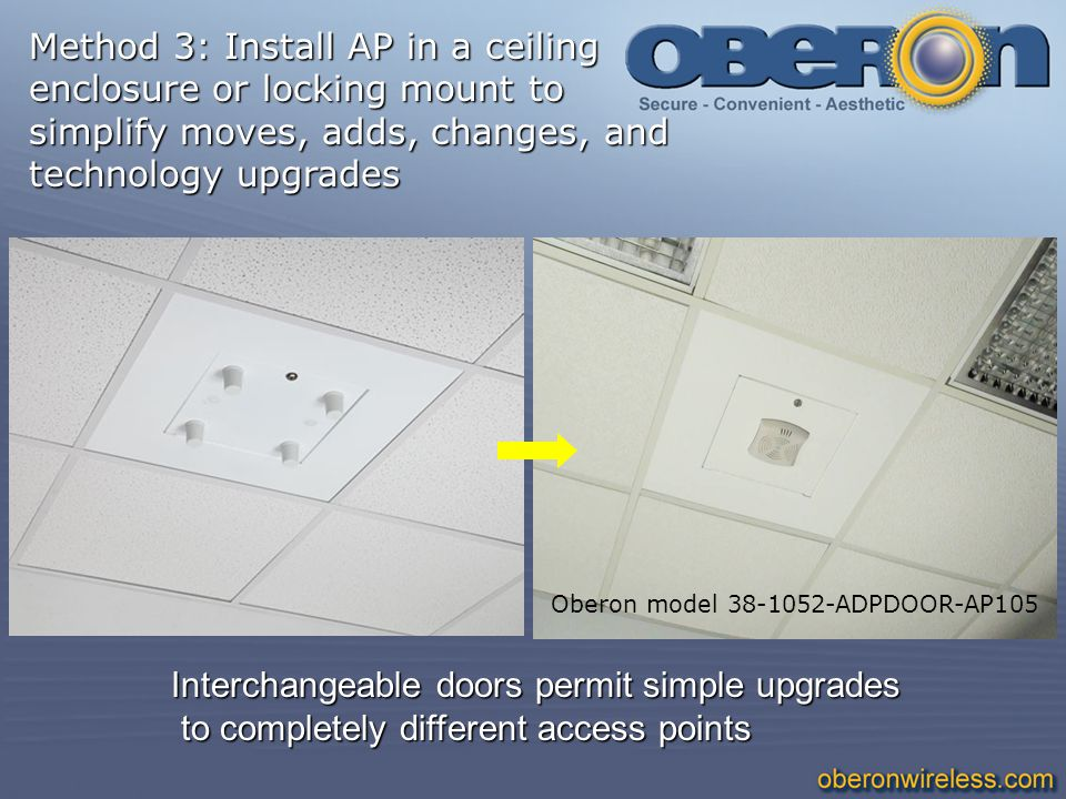 Oberon model 38-1052-ADPDOOR-AP105 Interchangeable doors permit simple upgrades to completely different access points to completely different access p