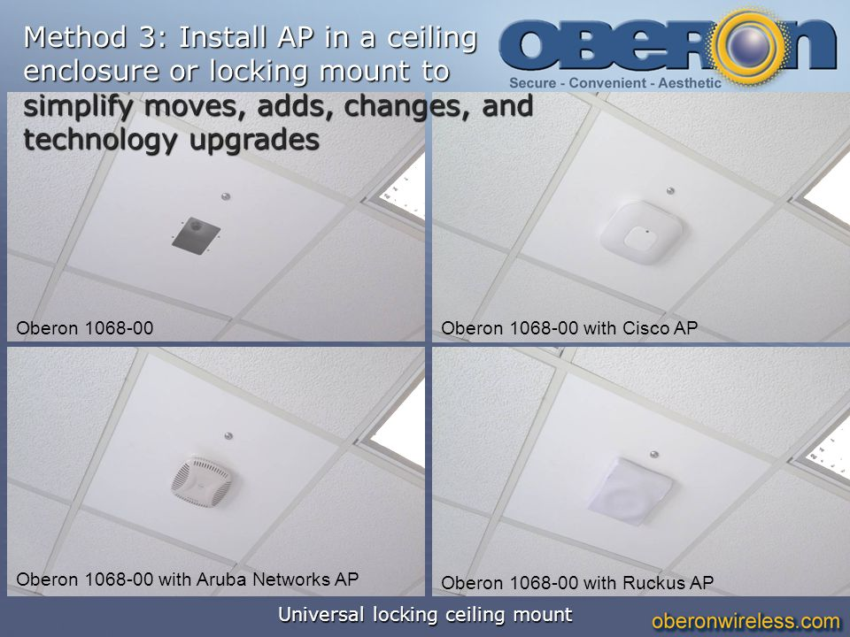 Universal locking ceiling mount Oberon 1068-00 Oberon 1068-00 with Ruckus AP Oberon 1068-00 with Cisco AP Oberon 1068-00 with Aruba Networks AP Method
